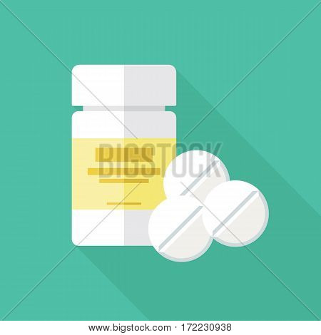 Medical packaging container and pills flat icon. White plastic bottle with medicaments and three tablets. Stylized medication symbol. Health care vector illustration.