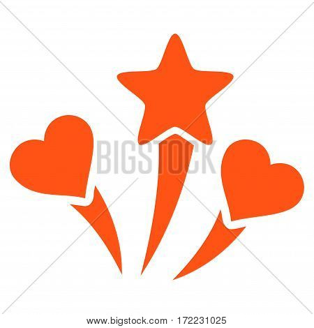 Lovely Fireworks flat icon. Vector orange symbol. Pictograph is isolated on a white background. Trendy flat style illustration for web site design logo ads apps user interface.