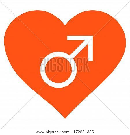 Male Love Heart flat icon. Vector orange symbol. Pictograph is isolated on a white background. Trendy flat style illustration for web site design logo ads apps user interface.