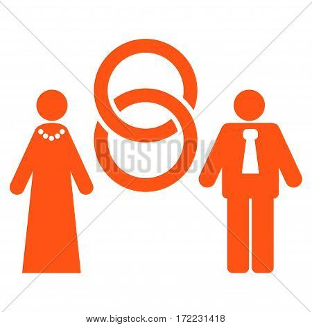 Marriage Persons flat icon. Vector orange symbol. Pictogram is isolated on a white background. Trendy flat style illustration for web site design logo ads apps user interface.