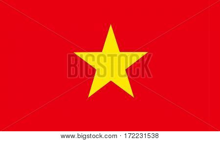 flat vietnamese flag in the colors red and yellow