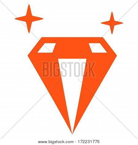 Sparkle Diamond Crystal flat icon. Vector orange symbol. Pictogram is isolated on a white background. Trendy flat style illustration for web site design logo ads apps user interface.
