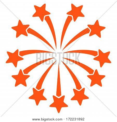 Spherical Fireworks flat icon. Vector orange symbol. Pictogram is isolated on a white background. Trendy flat style illustration for web site design logo ads apps user interface.