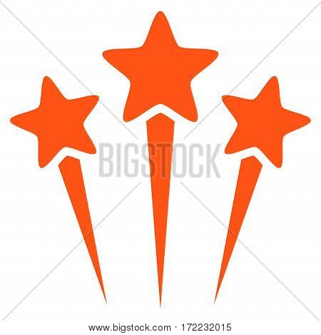 Star Salute flat icon. Vector orange symbol. Pictogram is isolated on a white background. Trendy flat style illustration for web site design logo ads apps user interface.