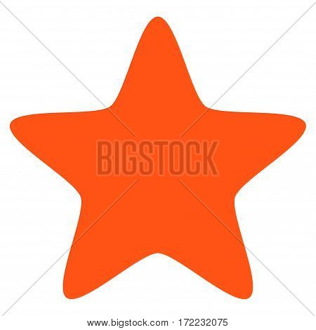 Star flat icon. Vector orange symbol. Pictograph is isolated on a white background. Trendy flat style illustration for web site design logo ads apps user interface.
