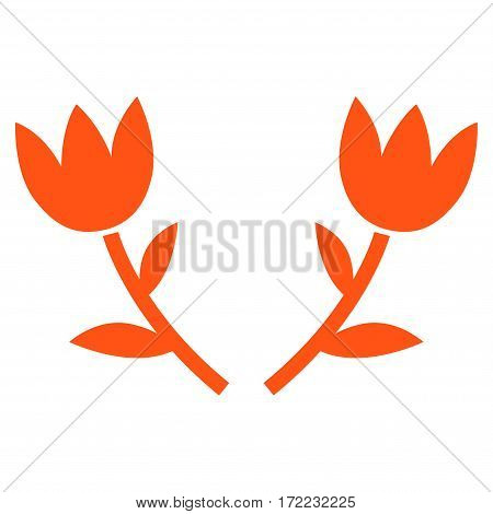 Tulip Flowers flat icon. Vector orange symbol. Pictogram is isolated on a white background. Trendy flat style illustration for web site design logo ads apps user interface.