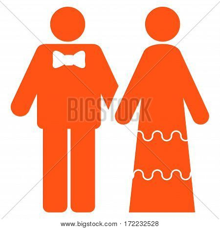 Wedding Persons flat icon. Vector orange symbol. Pictograph is isolated on a white background. Trendy flat style illustration for web site design logo ads apps user interface.