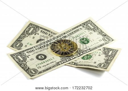 Single Shiny Gold Bitcoin Coin With Us Dollars On White Background