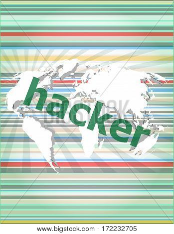Privacy Concept: Words Hacker On Digital Background. Concept Of Citation, Info, Testimonials, Notice