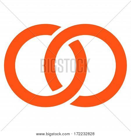 Wedding Rings flat icon. Vector orange symbol. Pictograph is isolated on a white background. Trendy flat style illustration for web site design logo ads apps user interface.