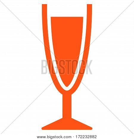 Wine Glass flat icon. Vector orange symbol. Pictogram is isolated on a white background. Trendy flat style illustration for web site design logo ads apps user interface.