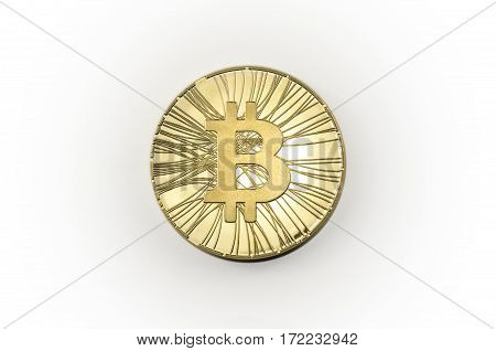 Single Shiny Gold Bitcoin Coin On White Background
