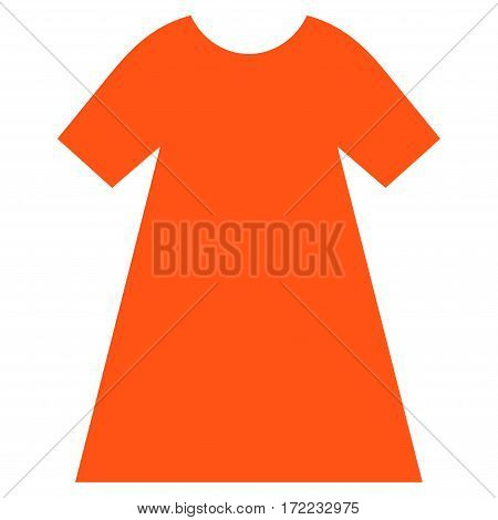 Woman Dress flat icon. Vector orange symbol. Pictogram is isolated on a white background. Trendy flat style illustration for web site design logo ads apps user interface.