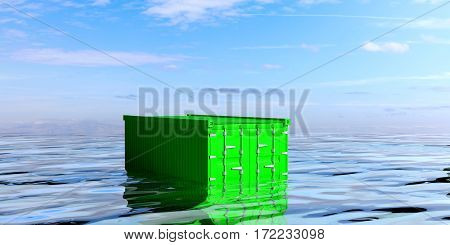 Container In The Sea. 3D Illustration