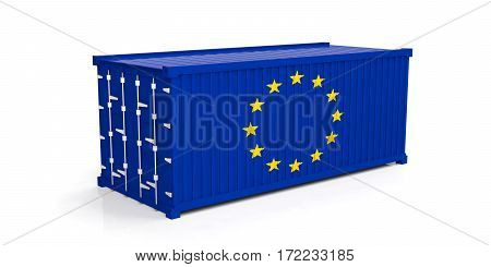 Eu Flag On Container. 3D Illustration