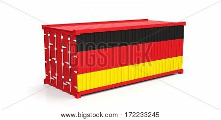Germany Flag On Container. 3D Illustration