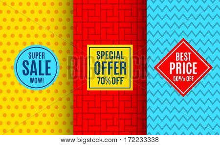 Super sale label tag. Bright pattern backgrounds. Vector illustration for special price offer sticker design. Abstract geometric frame coupon.