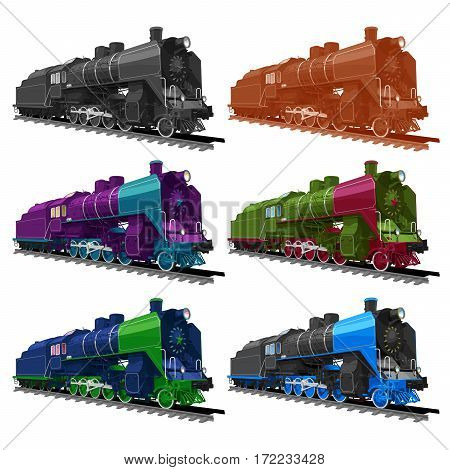 Vector ilustration set of an old steam locomotive in different color: black-and-white sepia violet green blue and black. isolated on white background. Solid fill only no gradients.