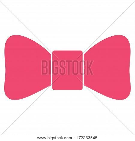 Bow Tie flat icon. Vector pink symbol. Pictograph is isolated on a white background. Trendy flat style illustration for web site design logo ads apps user interface.
