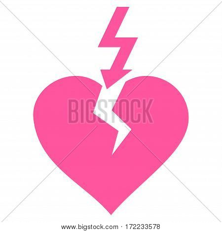 Break Heart flat icon. Vector pink symbol. Pictogram is isolated on a white background. Trendy flat style illustration for web site design logo ads apps user interface.