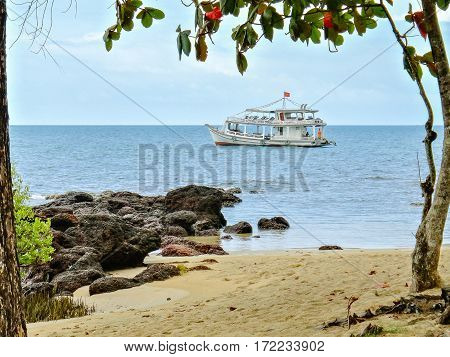 Boat close to a beautiful vietnamese cove Phu Quoc Island Feb 06 2013