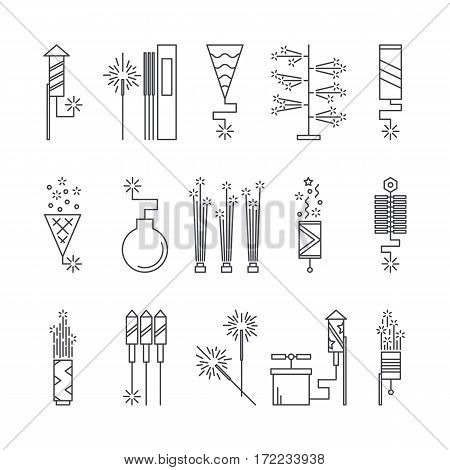 Black and white vector fireworks icons. Festival or party elements. Line carnival illustration. Firecracker set. Entertainment decorating. Cartoon surprise flat pictogram. Show spark symbols