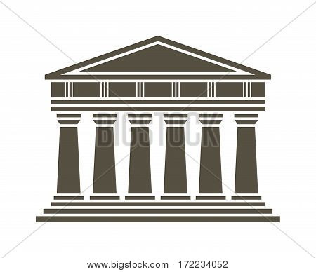 Architecture greek temple icon isolated on white background. Vector illustration flat architecture design.