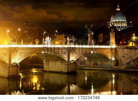 Bridge Vittorio Emanuele and Vatican in Rome, Italy