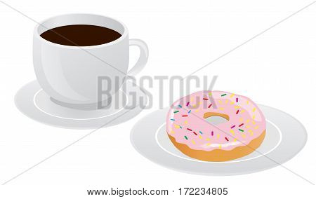 vector illuatration of coffee cup with donut coffee break breakfast meal fast food snack on plate isolated on white background