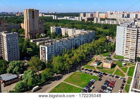 BALASHIKHA/ RUSSIA - AUGUST 5, 2015. Aerial view of the modern and old residential district in city Balashikha. Moscow