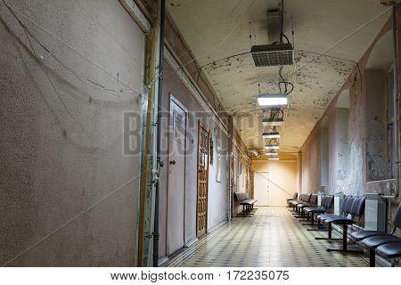 BALASHIKHA/ RUSSIA - OCTOBGER 13. Interior of a corridor in the old city hospital on October 13, 2015. City Balashikha, Moscow region, Russia.