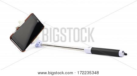 Selfie stick with the mounted in smart phone, composition isolated over the white background