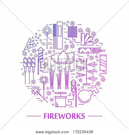 Colorful vector fireworks icons concept. Festival or party elements. Line carnival illustration. Firecracker set. Entertainment decorating. Cartoon surprise flat pictogram. Show spark symbols