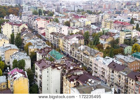 Aerial view of streets in the center of Kyiv, Ukraine