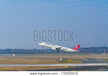 DUESSELDORF NRW GERMANY - MARCH 18 2015: Airbus A321 of Turkish Airlines at startup on the Duesseldorf airport.