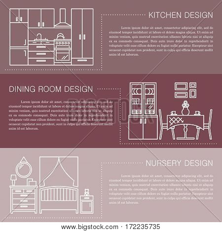 Modern brochure flyer design template with line interior icons. Kitchen, dining room, nursery vector illustrations. Business magazine, poster, banner, website