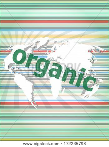 Marketing Concept: Words Organic Marketing On Digital Screen. Concept Of Citation, Info, Testimonial