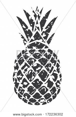 vector illustration of a grunge pineapple isolated on white background
