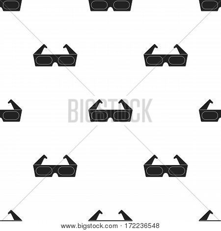 Anaglyph 3D glasses icon in black style isolated on white background. Films and cinema pattern vector illustration.