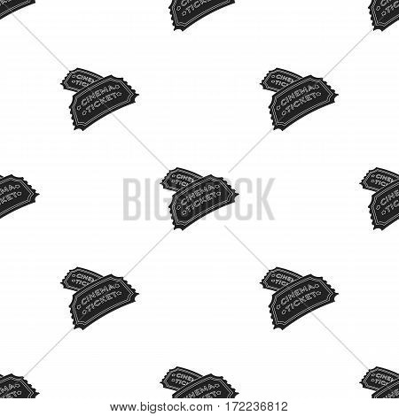 Ticket icon in black style isolated on white background. Films and cinema pattern vector illustration.