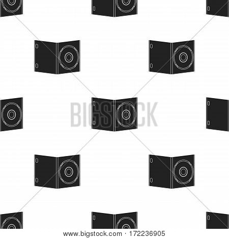 DVD with movie icon in black style isolated on white background. Films and cinema pattern vector illustration.