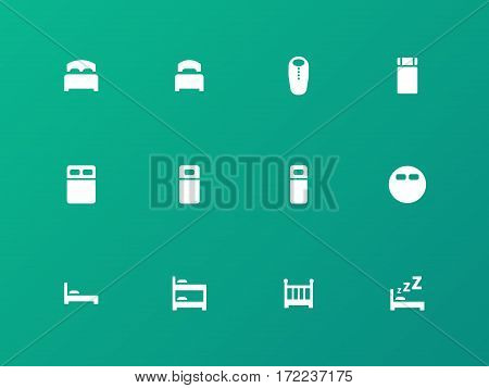 Bed, bunk and sleeping bag icons on green background. Vector illustration.