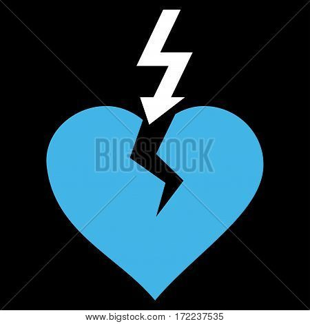 Break Heart flat icon. Vector bicolor blue and white symbol. Pictograph is isolated on a black background. Trendy flat style illustration for web site design logo ads apps user interface.