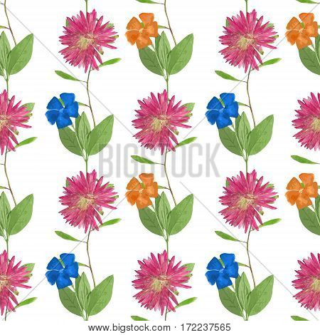 Aster Michaelmas daisy Periwinkle. Texture of flowers. Seamless pattern for continuous replicate. Floral background photo collage for production of textile cotton fabric. For use in wallpaper covers.