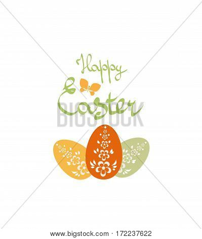 Easter background with greeting inscription and eggs vector illustration