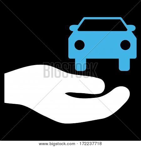 Car Gift Hand flat icon. Vector bicolor blue and white symbol. Pictograph is isolated on a black background. Trendy flat style illustration for web site design logo ads apps user interface.