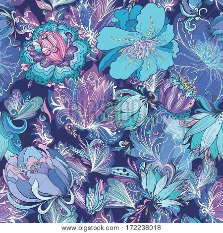 Seamless floral texture with doodle lily, lotus and peonies on dark blue background