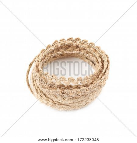 Pile of a linen rope string isolated over the white background