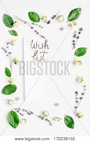 concept calligraphy and floral pattern top view wish list