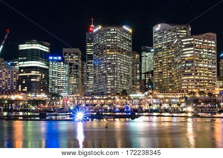 Darling Harbour During Vivid Sydney Light Festival
